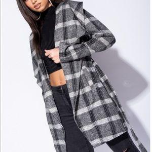 Jackets & Blazers - Checker collar belted blazer coat jacket